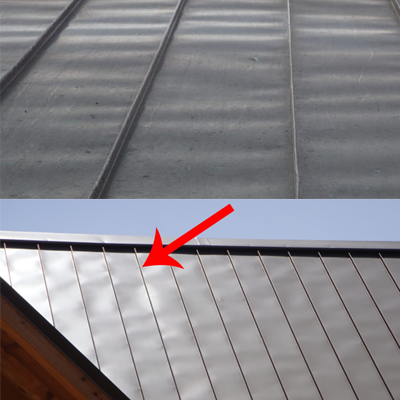 Oil canning on metal roofing