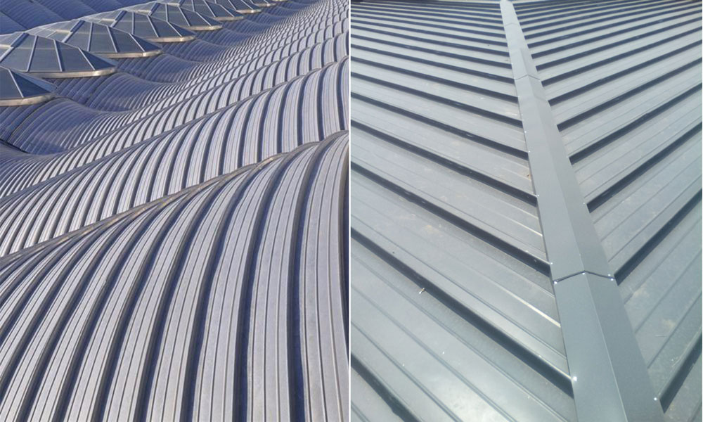 metal panels for large span roofing system