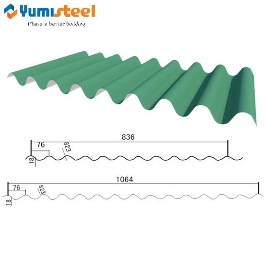 rolled corrugated steel wall sheet