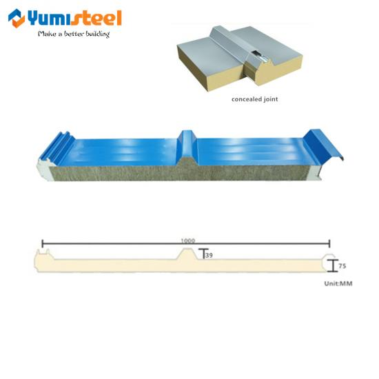 PU sealing rockwool sandwich roofing panel
