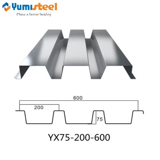 YX75-200-600 floor decking sheet